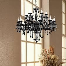 image of hang black crystal chandelier