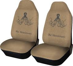 octopus burlap print car seat covers set of two personalized