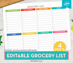 grocery checklist grocery list printable shopping list printable grocery list