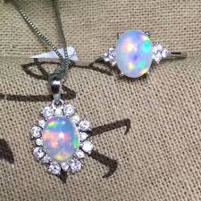 dazzling natural opal jewelry set 7 9mm natural australian opal gemstone silver jewelry set solid