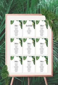 Download Palm Chart Tropical Wedding Seating Chart Diy Seating Chart Instant