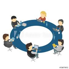 six cartoon people work sitting round table