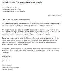 Invitation Letter Graduation Ceremony Sample Just Letter Templates