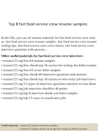 Fast Food Resume Examples Resume Sample