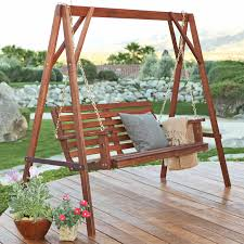 Furniture Nice Curved Back Wood Porch Swing Constructed
