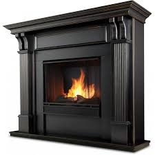real flame ashley 48 inch gel fireplace with mantel blackwash 7100 bw