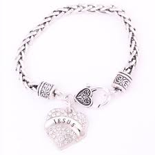 crystal heart charm silver plated bracelet jewelry whole lot mix available