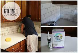 kitchen update grouting caulking subway tile backsplash