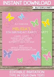 Party Template Butterfly Party Invitations Template Birthday Party