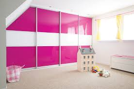 Fitted Sliding Wardrobe Pink White Glass Bedroom 1