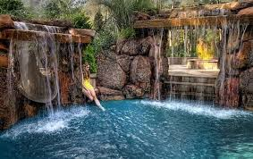 Backyard Pool Waterfalls Fire Pit And Slide Swimming Pool Design
