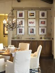 Awesome Wire Picture Hanging System : Picture Wall With Unset Cabinet At  Rustic Dining Room With
