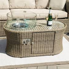 fire pit rattan dining sets by maze