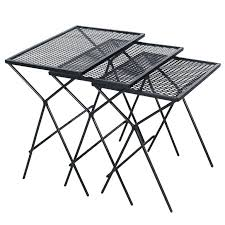 mid century modern wrought iron nesting patio side tables for table white metal id f