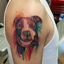 Tattoo Uploaded By Illuminati Tattoo Parlour Watercolor Pitbull