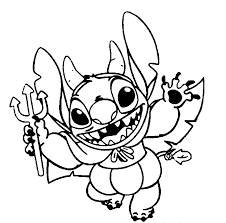 Stitch As Devil Disney Halloween Coloring Sheet Sunrise In California
