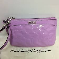 Coach 47207 Embossed Patent Medium Wristlet in Orchid Pink