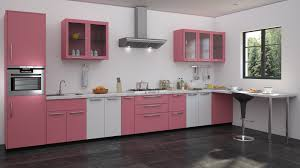 Colour For Kitchens Pink White Colour Modualr Kitchen Designs Straight Kitchen