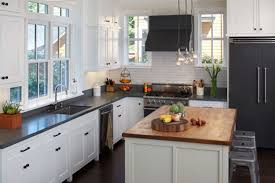 White Kitchen With Granite Brown Brick Tile Backsplash Black Countertop Backsplash For White