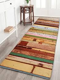 2018 colorful wood grain print flannel bathroom rug