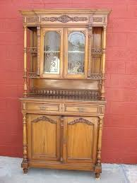decoration antique hutch with glass doors furniture french cherry wood cabinet cupboard kitchen