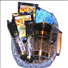 fair trade organic coffee gift basket with a french press coffee maker and gourmet treats