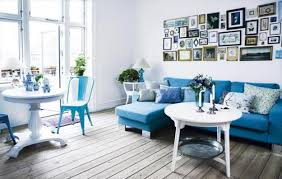 blue and white furniture. White Decorating Ideas, White Painted Furniture And Walls With Blue  Sofa, Chair Decorative Pillows M