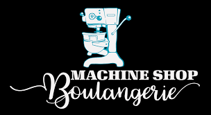 machine shop logo. french-influenced, philly-made small-batch wholesale bakery machine shop logo