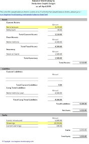 simple balance sheet example sample balance sheet