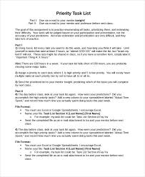 Priority List Template 10 Free Word Excel Pdf Document