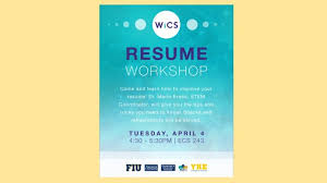 Resume Workshop Wonderful WICS Resume Workshop School Of Computing And Information Sciences