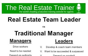 real estate team leader v manager infographic