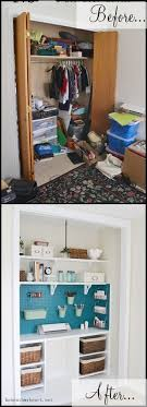 first we turned the closet into a craft supply area