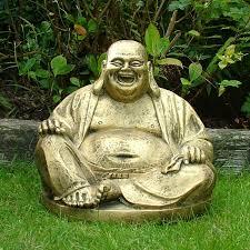 garden buddha statues. Gold Laughing Buddha Statue Sculpture - Garden Ornament Statues