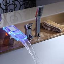 <b>Shiny</b> Brass Water <b>Color Changing LED</b> Stream Sink Water Faucet ...