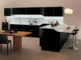 Modern Kitchen With Bar Small Modern Kitchen Design With Wooden Mini Bar And White Stools