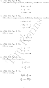 lc hl 2000 paper 1 2 a solve for x y 5 1 2 quadratic equations