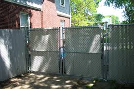 chain link fence double gate. Chain Link Double Gate With Slats Fence