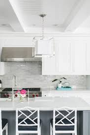 Awesome Light Gray Kitchen Backsplash Tiles With White Shaker Cabinets