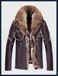 mens turn down fur collar leather coat