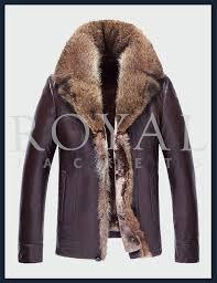 mens turn down fur collar leather coat
