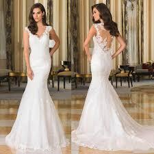 elegant justin alexande mermaid fitted wedding dresses v neck