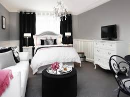 black and white studio bedroom