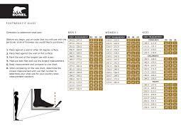 Sorel Size Guide