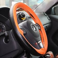 details about orange carbon style pvc leather steering wheel wrap w thread sport 47025c size m