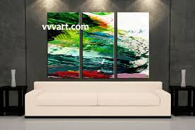 Oil Painting For Living Room 3 Piece Canvas Green Abstract Oil Paintings Pictures