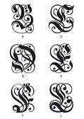 Vektorová Grafika Gravírování Tetování Písmo Písmeno L Se Stínováním
