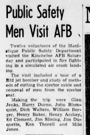 Ed Clement Public Safety men visit AFB Escanaba Daily Press 5/15/1962 -  Newspapers.com