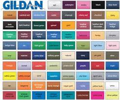 Color Chart For Clothes Choose A Uniform Colour Using The Gildan Colour Chart