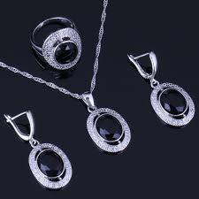 Exclusive Oval Black <b>Cubic</b> Zirconia White CZ 925 Sterling Silver ...